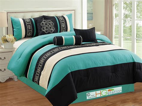 7pc greek key meander motif embroidery comforter set
