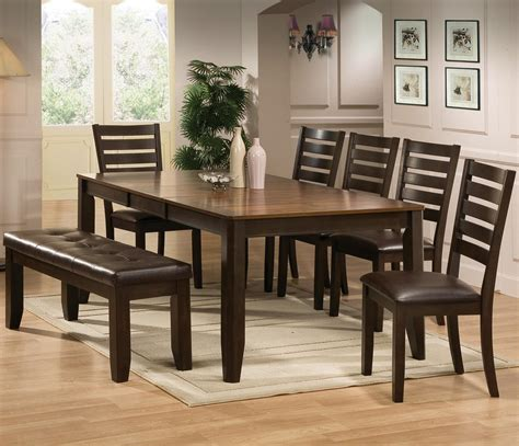 7 piece dining set with bench crown mark elliott 7 piece dining table and chairs set