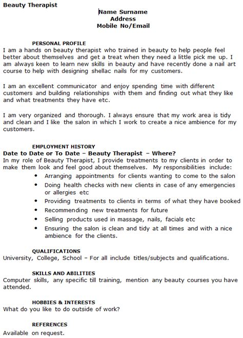 sle cv for beauty therapist beauty therapist cv exle icover org uk
