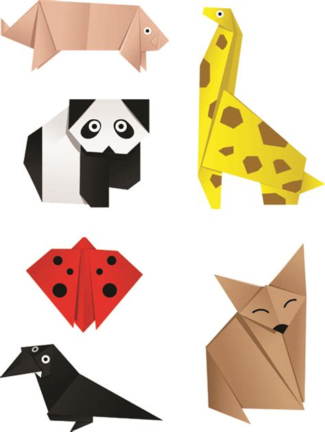 Origami Paper Animals - various origami animals design vector material 03 vector
