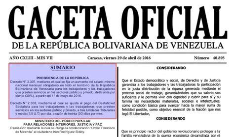 gaceta oficial 40893 ultimo aumento de sueldo minimo venezuela archives ks7000 wp