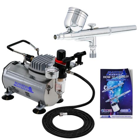 gravity dual action airbrush kit set air compressor spray