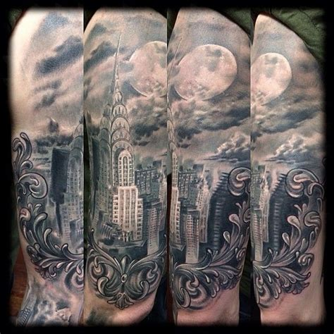 new york city tattoo real photo like black and white shoulder of new