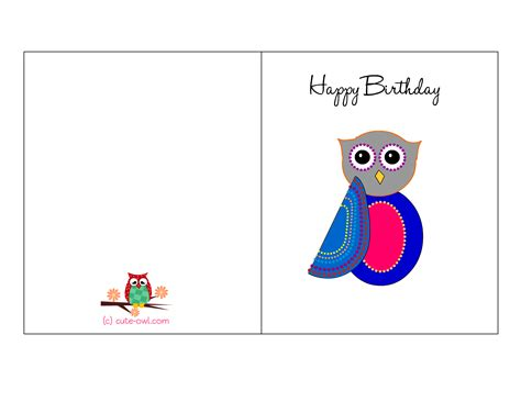 owl birthday card template free printable birthday cards for him 2 collection of