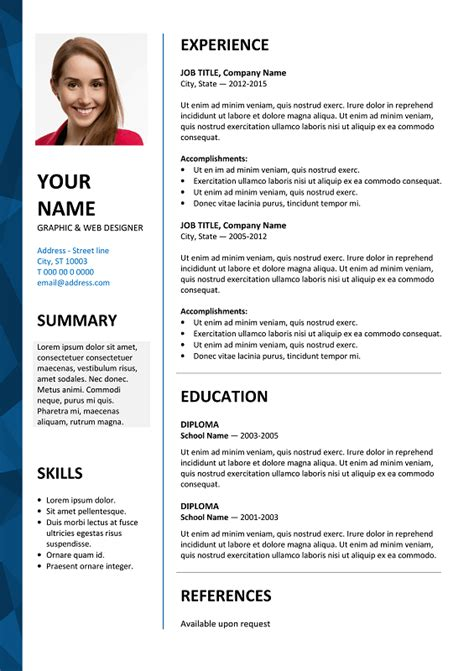 Ms Word Templates Resume Dalston Free Resume Template Microsoft Word Blue Layout