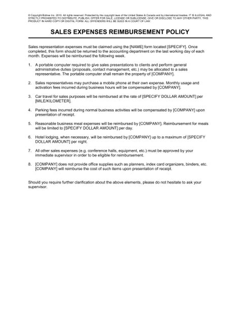 fleet policy template sales expenses reimbursement policy template sle