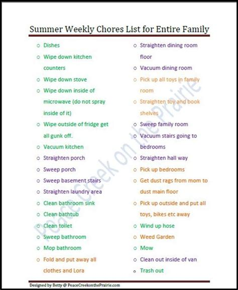 printable house chores list summer weekly cleaning list free printable household