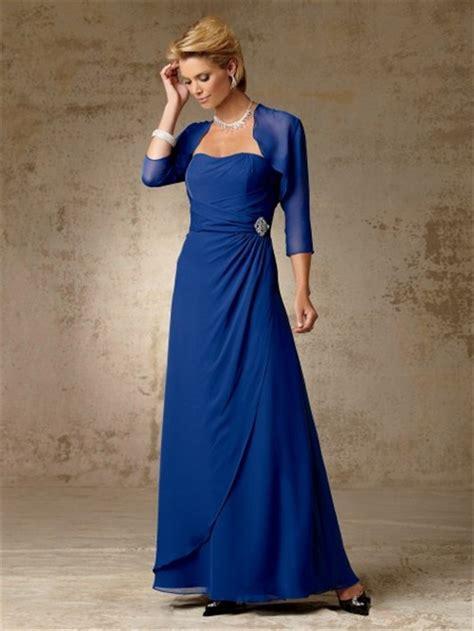 simple   long royal blue chiffon mother   bride
