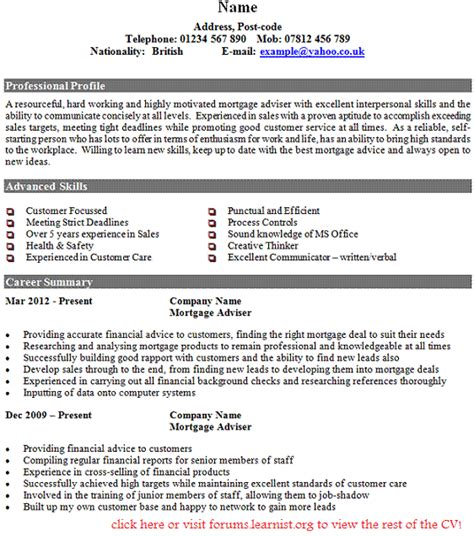 Sample Resume For Nurse by Mortgage Adviser Cv Example Forums Learnist Org