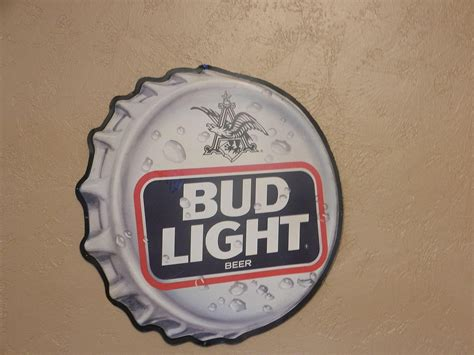 bud light tin signs vintage 1990 s bud light bottle cap tin advertising sign
