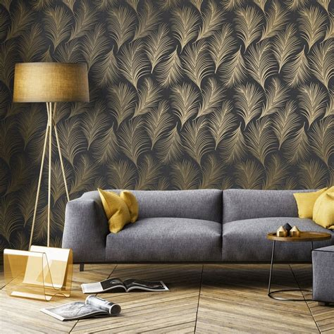 feather wallpaper home decor holden metallic feather pattern wallpaper leaf motif modern textured exclusive 50082 black