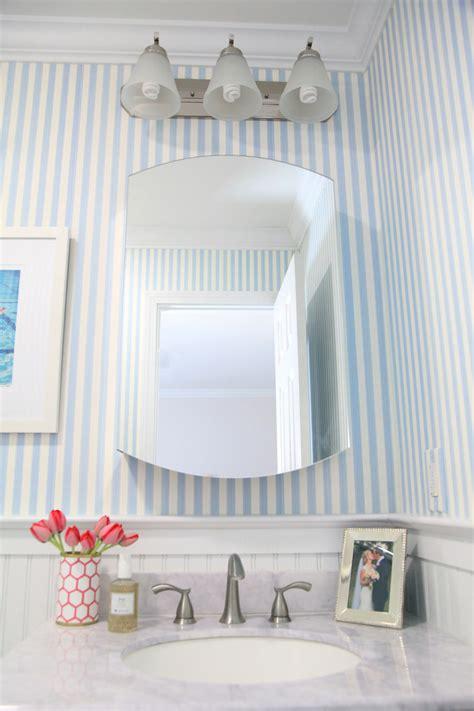 bathroom wallpaper stripes bathroom makeover lemon stripes