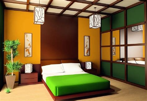 bedroom style colorful japanese bedroom style with big mirror