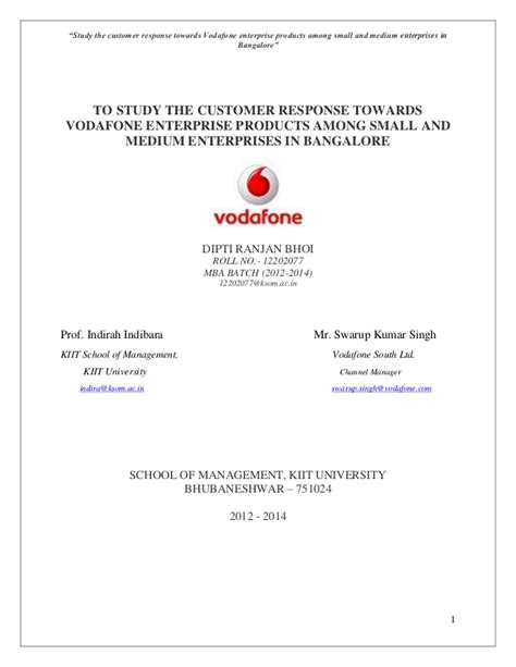 Experience Letter Bangalore Study The Customer Response Towards Vodafone Enterprise Products Amon