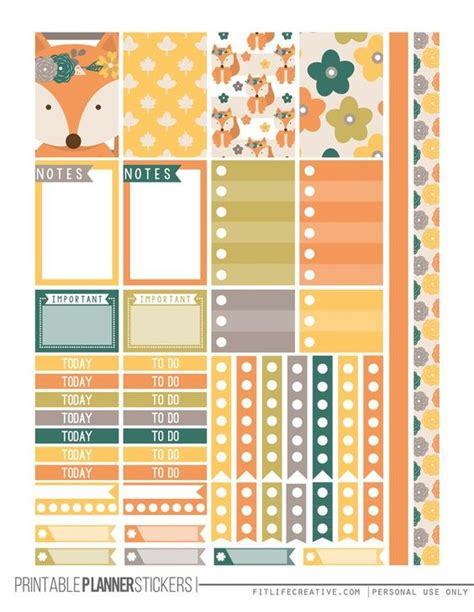 Free Printable Planner Pages Classic Size | fall fox free printable planner stickers for the classic