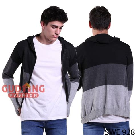 Gudang Fashion Sweater Fashion Abu sweater hoodie kombinasi warna rajut abu swe 928
