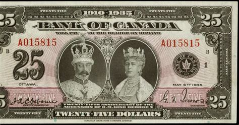 twenty five dollars canada 25 commemorative note 1935 silver jubilee of the
