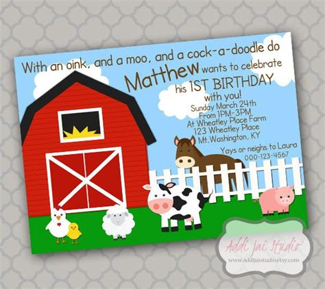 free 4x5 5 card template on the farm birthday printable 5x7 4x6 or 4x5 5