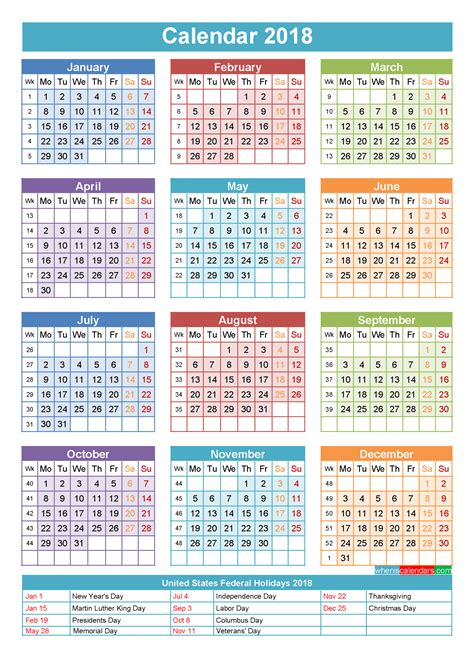 yearly calendar template for 2018 and beyond 2015 12 month 2015 12