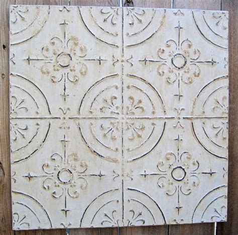 2 x2 antique ceiling tin tile circa 1910 white