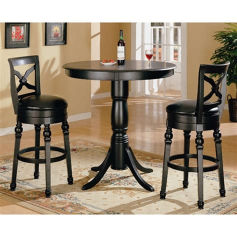bar top table sets black finish round top counter height 3 piece bar table