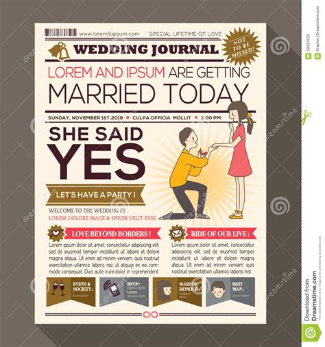 Newspaper Invitation Template by Newspaper Wedding Invitation Card Design Stock Vector Image 59337603