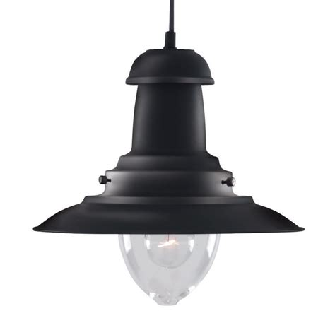fisherman black ceiling light with clear glass shade