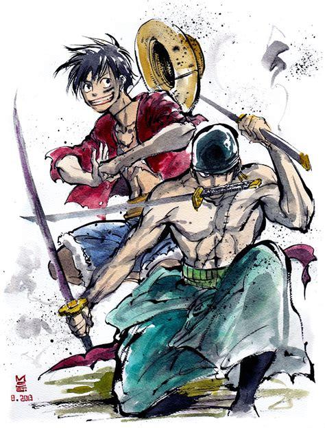 Kaos One Anime Luffy Zorro one luffy and zoro sumie style by mycks on deviantart