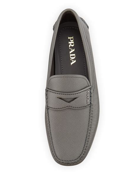 grey loafers for prada saffiano leather loafer in gray for lyst