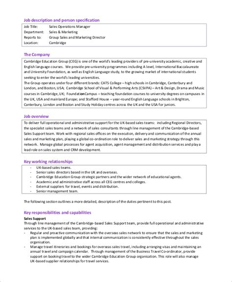 sle operations manager description 8 exles in pdf