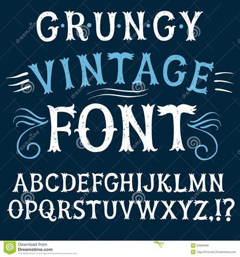 vintage font design online vintage textured vector font stock vector image 52609468