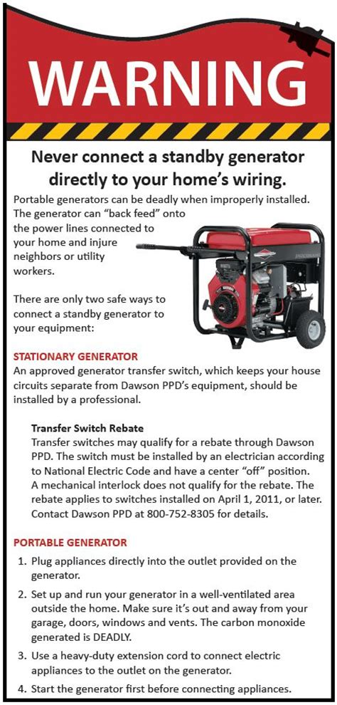 dawson power district 187 portable generator safety