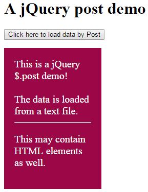 jquery div ajax post method of jquery to load data in html div and