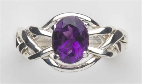 Amethyst L by 4am Amethyst Puzzle Ring Gold Silver Or