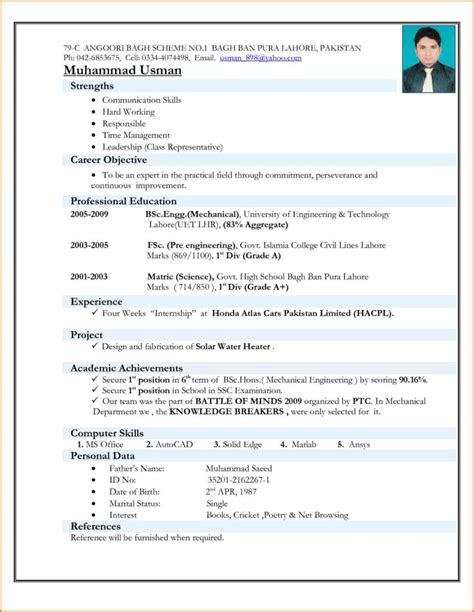 Resume Template In Pdf Format best resume format for freshers mechanical engineers free