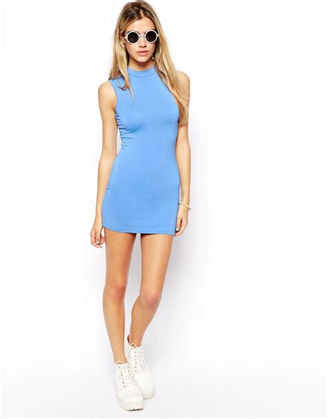 Ultra Mimi lyst asos tunic dress with high neck in blue