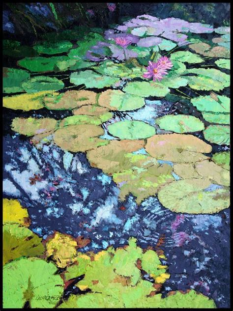 Dining Room Art Prints by Composition With Lily Pads Paintings By John Lautermilch