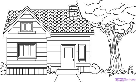 coloring house how to draw a house step by step buildings landmarks