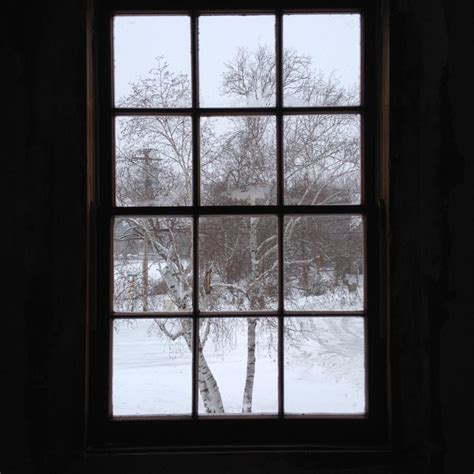 view of snow out lc house window fox wisconsin heritage