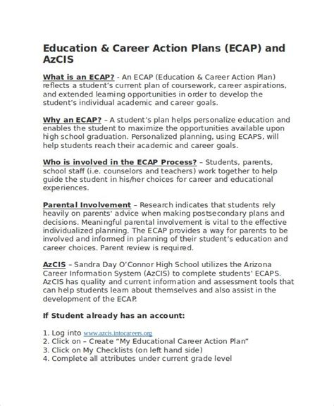 career plan template 14 free sle exle