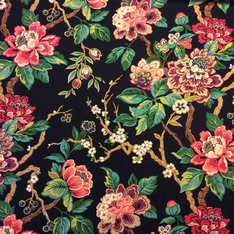 asian inspired upholstery fabric jacobean asian floral branch japanese inspired ottoman