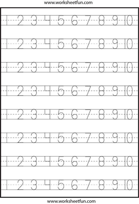 Tracing Numbers 1 10 Worksheets Kindergarten number tracing 1 10 worksheet kindergarten worksheets