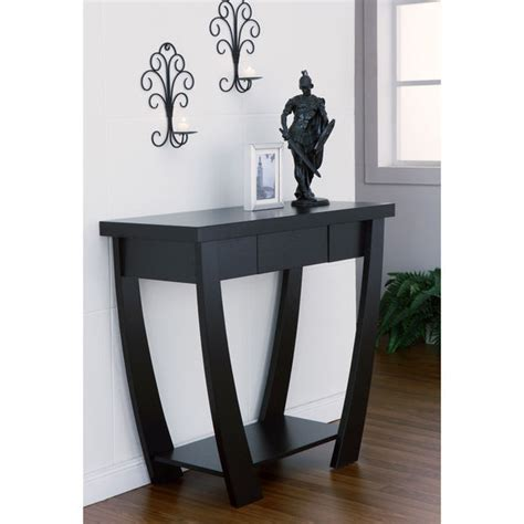 contemporary sofa table black furniture of america modern treasure black finish console