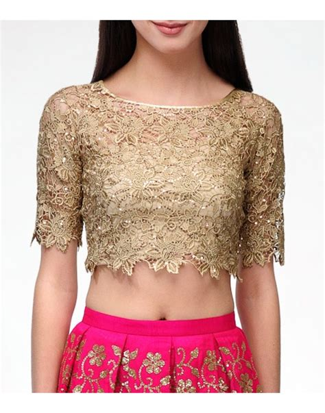 best blouse designs lace gold crop top blouses clothing my style