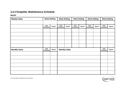 Maintenance Schedule Template Schedule Template Free Monthly Maintenance Schedule Template