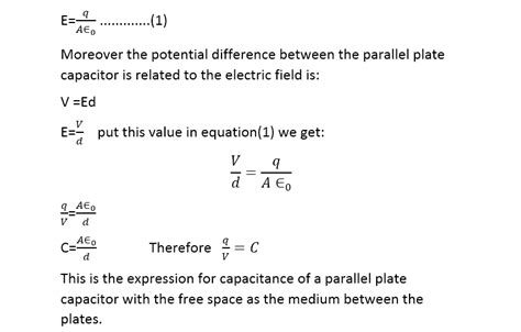 capacitor potential energy equation capacitance of a capacitor definition formula unit and equations