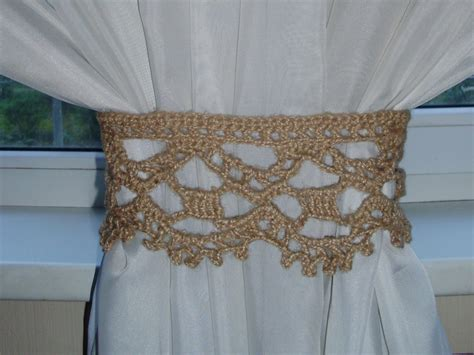crochet curtain tie backs crochet curtain ties rustic curtain tie back natural jute