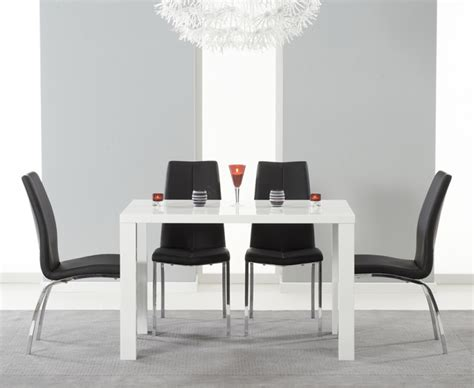dining room sets atlanta 8496 atlanta 120cm white high gloss dining table with charcoal