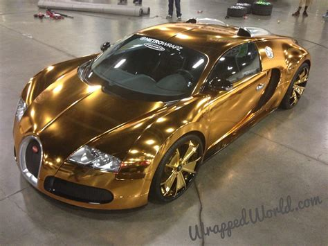 bugatti gold gold chrome wrapped bugatti veyron owned by flo rida looks