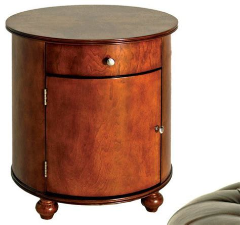 barrel accent table steve silver brewster 23 inch round barrel end table in cherry contemporary side tables and